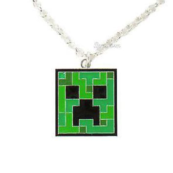 "Licensed cool NEW Minecraft Green Silver Metal & Enamel Creeper Pendant  Necklace w/ 20"" Chain"