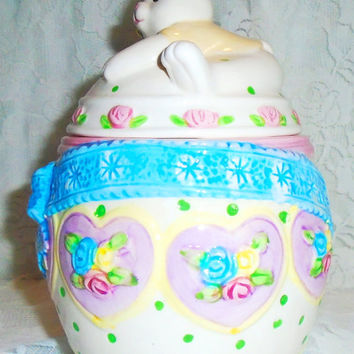 Ceramic Easter Egg Covered Jar with Bunny Lid Goody Jar Candy Jar Large Easter Jar Roses and Ribbon Vintage 1970s NOS in Original Box