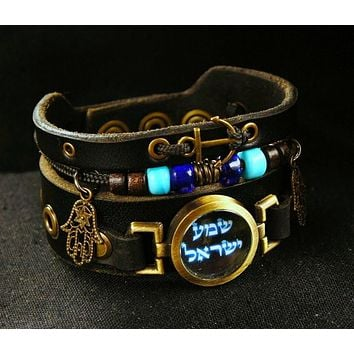 Hebrew Shema Yisrael Bracelet With Hamsa, Turquoise Glass Beads And Anchor