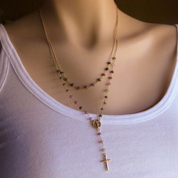 Gold Rosary Necklace, Layered Watermelon Tourmaline Rosary Style Necklace