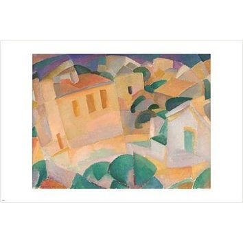 LEO GESTEL vintage painting art poster MALLORCA, TERRENO modern cubism 24X36
