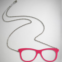Neon Pink Cutout Sunglasses Necklace