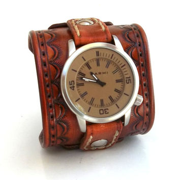 Leather Cuff Watch, Hand stamped Wrist Watch, Leather Men's watch, Leather Cuff, Bracelet Watch, Watch Cuff