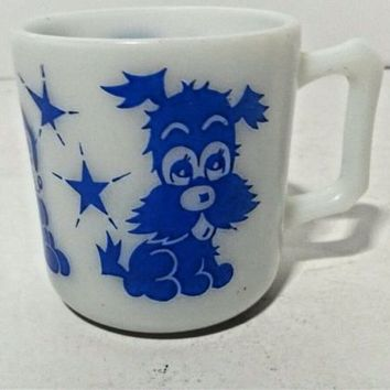 Hazel Atlas Childs Milk Glass Mug Kiddie Ware Bright Blue Puppy Bunny Duck
