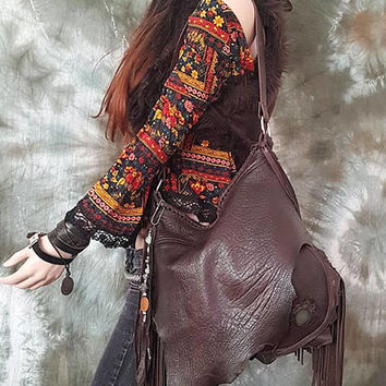 Dark chocolate brown leather fringe bag hobo tribal agate stone bohemian boho festival  purse sweet smoke free people fringed bag moroccan