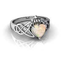 14kt White Gold Opal 6mm Heart Claddagh Celtic Knot Ring - Size 4.5