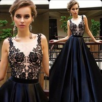 Hot Selling Black Long Lace Top Prom Dresses Evening Dresses for Women