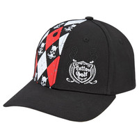 Monster Argyle Skull Adjustable Golf Hat (Red/Black/White)