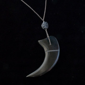 claw & meteorite necklace - claw carved from horn and meteorite bead long pendant necklace