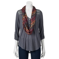 Neon Soul 2-Pc. 3/4-Length Sleeve Juniors' Solid Henley with Scarf, Size: