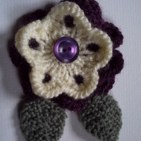 OOAK! Hand knitted flower corsage brooch pin. Purple heather and cream.