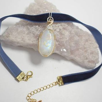 Beautiful Moonstone Choker Pendant Wrapped in 14k Gold Filled and .925 Sterling Silver Wire - On Blue Velvet Choker