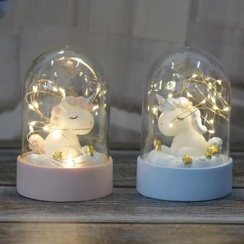 Unicorn LED Night Light Luminaria Garland Fairy String Lights Novelty Lighting Unicorn Toy Doll For Kids Christmas New Year Gift