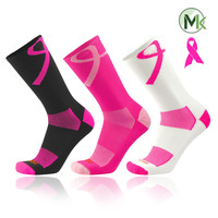 TCK® Breast Cancer Elite Aware Ribbon Crew Socks - Black, Pink, White - proDRI