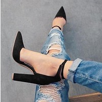 Pointed Toe Low Cut Ankle Lace Up High Chunky Heels