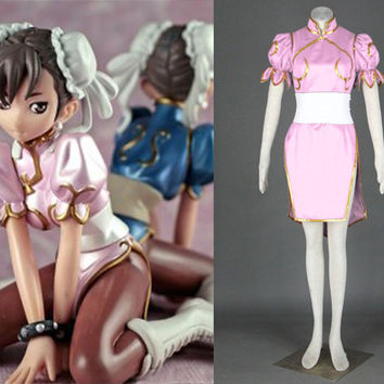 Chun Li Costume, Chun Li Dress, Chun Li Pink Cosplay Costume, Street Fighter Costume