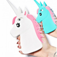 "New 3D Cute Cartoon Unicorn Soft Silicone Rubber Case Cover For iPhone 4 4S 5 5S 5C 6 6S 4.7"" 6/6S Plus 5.5"" White Horse Cases"