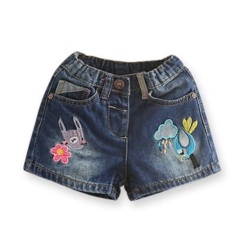 Summer Jeans Shorts For Girls Brand Embroidery Kids Denim Shorts Casual Girl Pants Jeans Children's Clothing Kids Clothes 2-7 Y