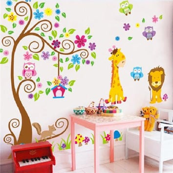 Animal giraffe owl tree wall decals home decoration wallpaper living room sofa vinyl wall stickers for kids rooms home decor