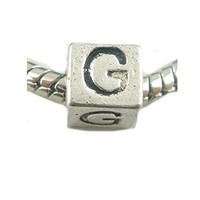 One Alphabet Block Beads Letter G for European Snake Chain Charm Braclets