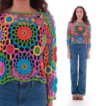 Colorful Crochet Knit Sweater Cropped Top Vintage Rainbow Beaded Boho Hippie Festival Jumper 90s Vintage Clothing Womens Size Small Medium