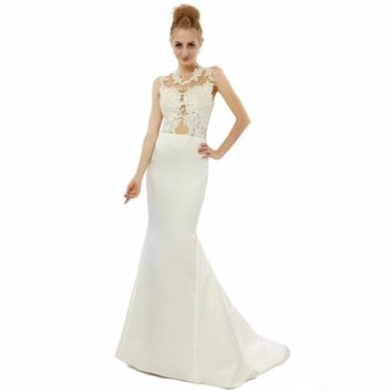 Mermaid Sleeveless Sheer Back Applique See Through Formal Dress For Party