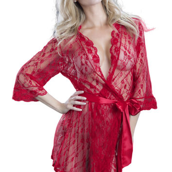 Red Lace Robe Satin Trim Intimates