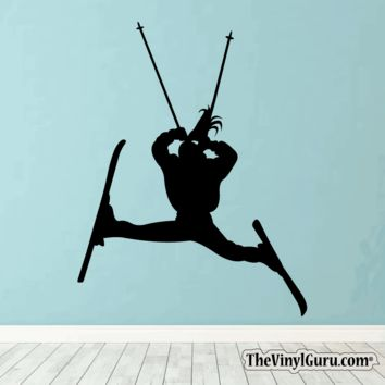 Skiing Wall Decal - Ski Sticker #00013