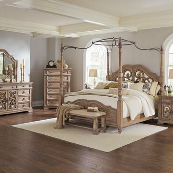 5 pc Ellian II collection antique linen finish wood queen canopy bedroom set with tufted and padded headboard