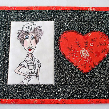 Valentine Mug Rug, Nurse Mug Rug, Quilted Black Red Mug Rug, Medical Snack Mat, Gift for Nurse, Quiltsy Handmade