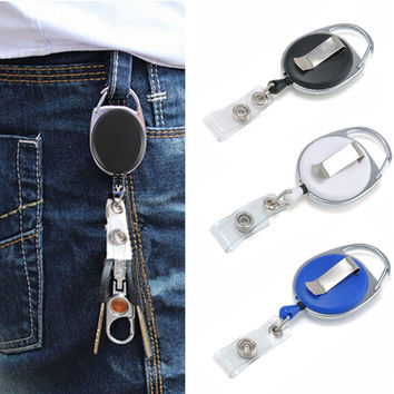 3 Colors 60cm Retractable Recoil Reel Lanyard Name Tag Keychain Card Steel Key Holder Pull Belt Clip Burglar Tool Chaveiros
