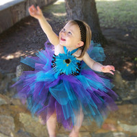 Baby TuTu Dress Black Turquoise Blue Purple first by leeleeandjj