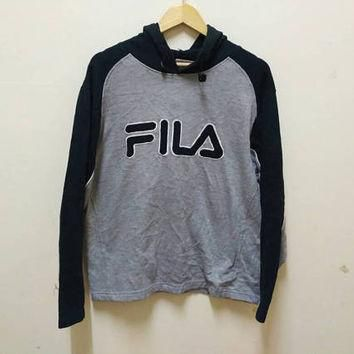 Fila Hoodie sweatshirt spellout Embroidery big logo pullover vintage sports wear