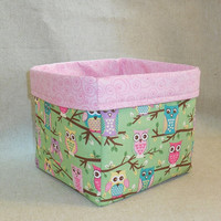 Adorable Owl Themed Fabric Basket
