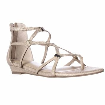 TS35 Pam Strappy Wedge Sandals, Gold Metallic, 6.5 US
