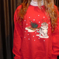 Sledding cat turtle neck ugly christmas sweater