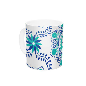"Anneline Sophia ""Let's Dance Blue"" Teal Aqua Ceramic Coffee Mug"