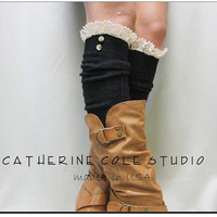 Swiss  LACE BOOT SOCKS Black / European styling for your tall boots - over knee cable knit  womens Catherine Cole Studio / made in usa