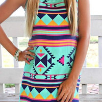 Light Blue Geometric Print Sleeveless Dress