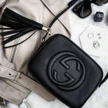 Gucci Fashion Ladies Small Bag Shaopping Pure Color Tassel Leather Shoulder Bag Crossbody Satchel Black