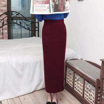 Free Shipping 2018 New Fashion Elegant Women Winter And Autumn Skirts Ladies Pencil S-L Elastic Waist Long Maxi Skirts With Slit