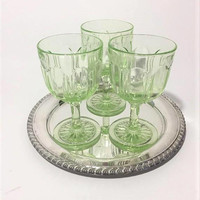 Green Depression Glass Goblets, Anchor Hocking Colonial Knife and Fork Green Wine Glasses, Green Depressionware, Water Goblets