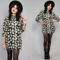 Vintage 90s Floral Revival Daisy Sheer Tunic Button up Mini Dress S M