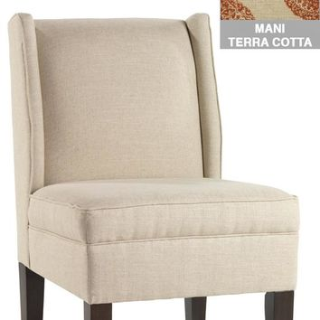 Custom Eaton Armless Wingback Chair   Accent Chairs   Living Roo