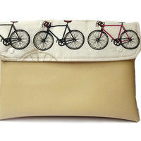 Bicycle ipad cover, custard ipad case, vegan leather clutch