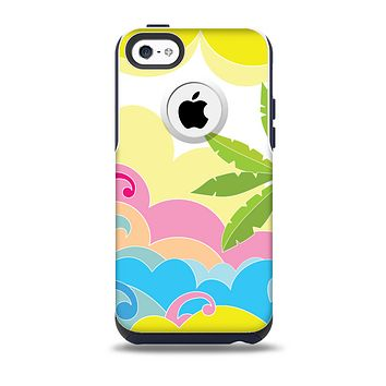 The Cartoon Bright Palm Tree Beach Skin for the iPhone 5c OtterBox Commuter Case