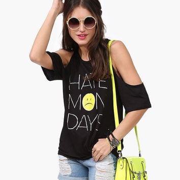 Black  Hate Mondays Sad Face Print Cutout Shoulder Loose Top