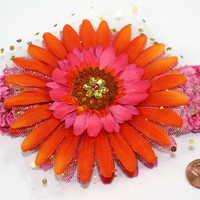 Pink and Orange Daisy Headband, sparkle, bling, crochet, one size fits all, flower