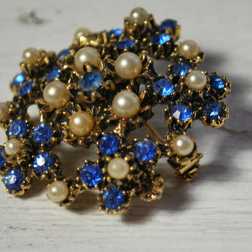 Gold Tone Brooch with Blue and White Stones , Vintage Jewelry for Her