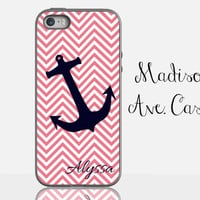 Pink White Chevron Anchor Nautical Custom Personalized Name Girl Beach Ocean Gift Samsung Galaxy Edge iPhone 5s 4 4s 6 Plus Tough Phone Case